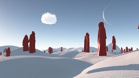 Red Monks. Figures in red robes in the white desert. Human elements were created with 3D software and are not from any actual human likenesses Stock Photography