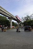 Red Monorail at Traffic Junction Stock Photos