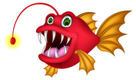 Red monster fish cartoon Stock Images