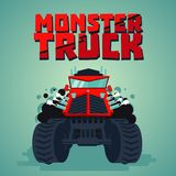 Monster truck. Big car, cartoon style. Isolated illustration. Front view. Red monster truck. Isolated illustration. Big car, cartoon style. Front view Royalty Free Stock Images