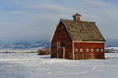 Red Montana Barn In Winter Royalty Free Stock Photo