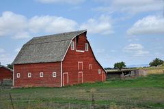 Red Montana Barn In Summer Stock Image