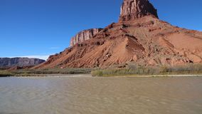 Red monument on Colorado River. Landscape in Colorado River Valley, Utah stock video