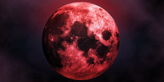Red moon. Big red scary moon abstract halloween background Royalty Free Stock Image