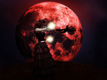 Red Moon And Witch Royalty Free Stock Photos