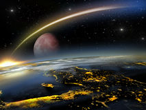 Red moon and asteroid hitting Earth Royalty Free Stock Images