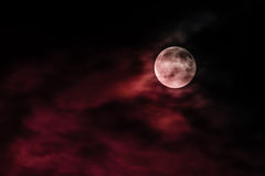 Red moon. In a dark night Stock Photos