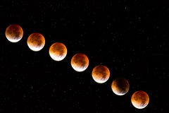 Red moon. In 2015 on the full stars universe in black Stock Photo