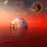 Red moon and planet. In the ocean - digitalartwork Royalty Free Stock Photography