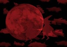Red moon witches Stock Images