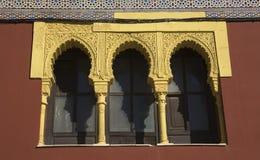 Red Moorish window in Cordoba, Spain Stock Images