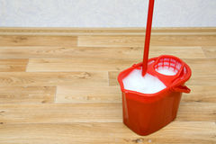 A red mop in a bucket Royalty Free Stock Photo