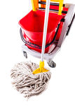 Red mop bucket isolated detail Stock Photos