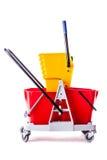 Red mop bucket Stock Image