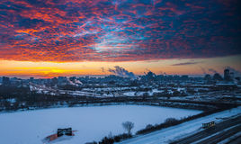 Red morning sunrise over the city. Stock Images