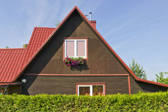 Red morning village home roof Royalty Free Stock Image