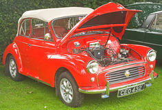 Red Morris 1000 soft tp car. An image of a Morris 1000 open tourer or soft top seen at the Fortrose Classic car Rally on 25th August 2010 Royalty Free Stock Photography