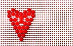 Red mosaic heart on white, valentines day background Stock Photography