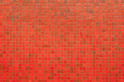 Red mosaic wall texture and background Royalty Free Stock Image