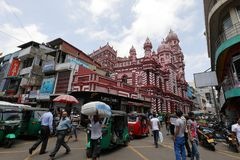 Red mosque of Colombo in Sri Lanka Royalty Free Stock Photography