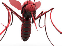 Red mosquito illustration. 3D rendered illustration of a mechanical mosquito. The composition is isolated on a white background with no shadows royalty free illustration
