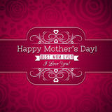 Red Mother's day greeting card  with roses and wishes text Royalty Free Stock Images