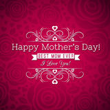 Red Mother's day greeting card  with roses and wishes text. Vector illustration Royalty Free Stock Image
