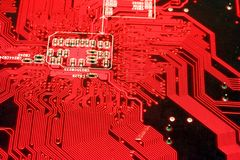 Red motherboard Royalty Free Stock Image