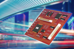 Red motherboard in city Royalty Free Stock Images