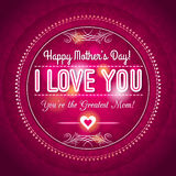 Red Mothers day greeting card  with  hearts and wishes text Stock Photo