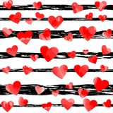 Red motley hearts on black stripes. vector illustration. Valentines background. wedding background Stock Photos