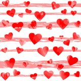 Red motley hearts on pink stripes. vector illustration. Valentines background. wedding background Royalty Free Stock Image