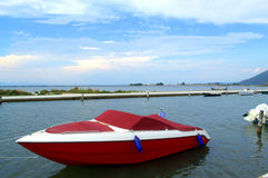 Red motor boat Stock Image