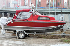 Red motor boat. Stock Image
