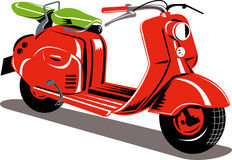 Red motor scooter Stock Photo