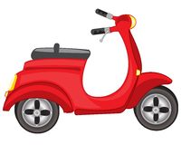 Red motor scooter. Illustration of a red scooter on a white background Royalty Free Stock Image
