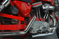 Red motorbike details. New ,red motrocycle details stock images