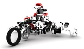 Red motorbike exploded. A red motorbike exploded in many parts Royalty Free Stock Photos