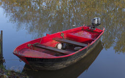 Red motorboat Stock Image
