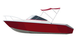 Red motorboat side Royalty Free Stock Photo