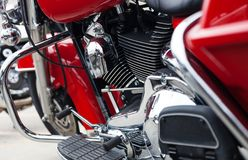 Red motorcycle with chrome engine/ modern red motorcycle with ch Royalty Free Stock Photography