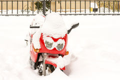Red Motorcycle Covered Snow Royalty Free Stock Photos