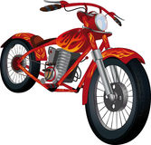 Red motorcycle with fiery drawing. Sports red motorcycle with the drawn flame Royalty Free Stock Photos