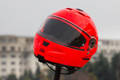 Red motorcycle helmet Stock Photo