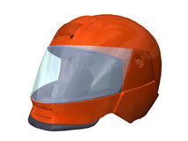 Red motorcycle helmet. Computer image, red helmet 3D, isolated white background Stock Photography