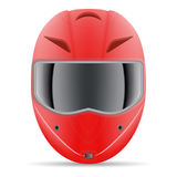 Red Motorcycle Helmet. Front View Isolated On A White Background. Vector Illustration. Stock Photos