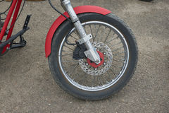 Red Motorcycle Parts. CHERNIVTSI, UKRAINE - JULY 22, 2017: Red Motorcycle Parts, detail of motorcycle, engine Gas tank frame seat at the festival Moto-picnic Royalty Free Stock Photos