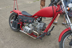 Red Motorcycle Parts. CHERNIVTSI, UKRAINE - JULY 22, 2017: Red Motorcycle Parts, detail of motorcycle, engine Gas tank frame seat at the festival Moto-picnic Royalty Free Stock Images