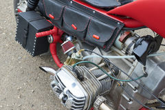 Red Motorcycle Parts. CHERNIVTSI, UKRAINE - JULY 22, 2017: Red Motorcycle Parts, detail of motorcycle, engine Gas tank frame seat at the festival Moto-picnic Stock Images