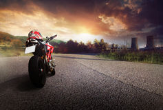 Motorcycle. Red motorcycle on a road Royalty Free Stock Photography